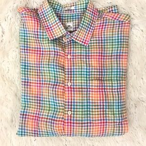 Peter Millar multi color plaid shirt 100% linen XL